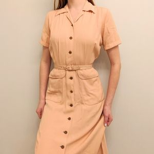 Vintage 1940s WWII Era Peach Day Dress